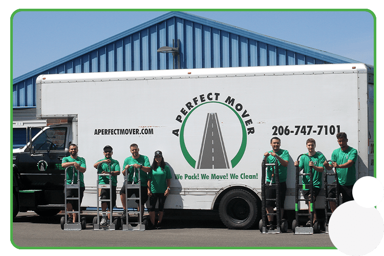 This image shows the A Perfect Mover crew with a moving truck