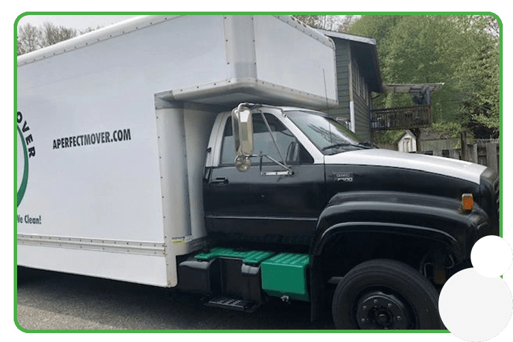 An image of A Perfect Mover truck with side graphic